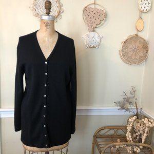 Vintage 80s Black Merino Wool Hand Loomed Cardigan
